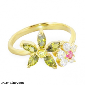 10K real gold mulit-color multi-flower toe ring, como realizar un piercing genital, real diamond navel rings, real diamond labret, gold eyebrow ring, navel jewelry gold