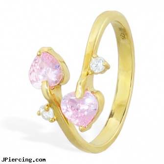 10K real gold spiral toe ring with pink hearts and clear gem, real gold nipple rings, real diamond labret, real gold nose rings from india, solid gold plugs gauge, gold frenum cock ring