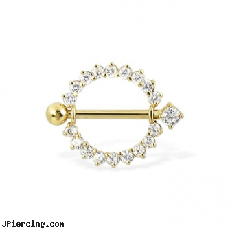 14K Real Yellow Gold Gemmed Nipple Ring With Jeweled Barbell 14 Ga