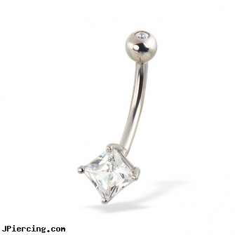 14K White Gold Belly Ring with Square Gem Length 716 11mm