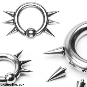 316L Surgical Steel Captive Bead Ring w/ 6 Internally Threaded Spikes, 10ga, 316l jewelry cards, surgical steel body piercing jewelry, surgical steel nose rings, surgical steel nose stud, steel spike nipple shields