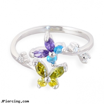 .925 sterling silver multi-colored jeweled butterfly toe ring, sterling silver naval rings, sterling cock ring, sterling silver jewellry, silver navel ring, nonpiercing silver body jewelery