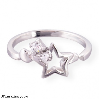 .925 sterling silver toe ring with hollow star and gems, sterling silver jewellry, disney charms sterling silver, sterling silver naval rings, silver navel ring, silver jewelry ear cuffs