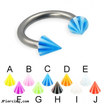 Beach cone titanium circular barbell, 12 ga, nipple rings worn on the beach, beach ball barbell and eyebrow piercing, genital piercing virgina beach, cone helix, silicone cock ring with balls