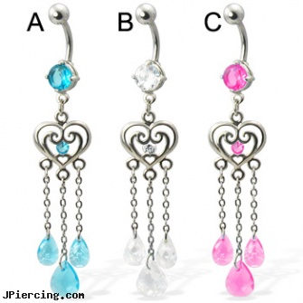 Belly button ring with heart and three teardrop gems on chains, animal belly rings, belly button piercing photo, belly button piercing los angeles, nude girls with belly button rings, non pierced clit rings