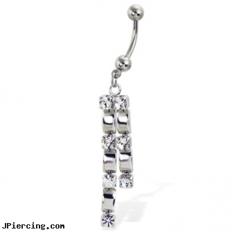 Belly button ring with two dangles and gems, belly button piercing information, clear belly button ring, square gemstone belly jewelry, facts about belly button piercing, dragon cock ring