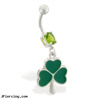 Belly ring with dangling three leaf clover, belly button piercing stories, belly button rings logo, chanel belly button ring, cock rings clitorus, dangling navel ring