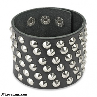 Black Leather Extra Wide Bracelet with 60 Small Steel Cone Studs, black studs, black titanium labret, black onyx navel ring, leather or rawhide cock rings, leather body jewellery