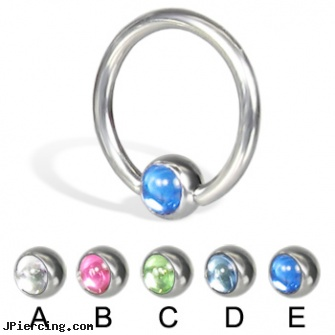 Captive Bead Ring with Cabochon Ball, 14 Ga, captive segment cock rings, body and jewelry and captive and beads, captive ring balls, replacement beads body piercings, 14k gold captive bead ring