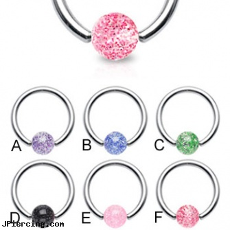 Captive bead ring with glitter ball, 16 ga, double captive ring body jewelry, charms for captive belly rings, captive bead ring, acrylic bead rings, the bead ring