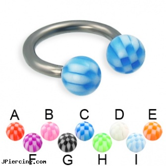Checkered ball titanium circular barbell, 12 ga, wholesale ball tounge rings, cock ring effective placement balls, navel ring balls replacement, 18 gauge labret titanium, 29mm titanium barbell