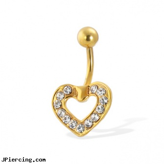 Gold Tone belly button ring with CZ-paved heart, gold gem nose screw, solid gold navel rings, 14kt gold navel jewelry, birth stone, square gemstone belly button ring