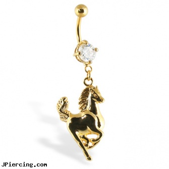 Gold Tone belly button ring with horse, harley davidson gold navel rings, gold body jewelry wholesale, gold talon body jewelry, gemstone belly button barbells, rolling stones tongue ring