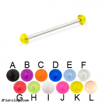 Long Barbell (Industrial Barbell) with Acrylic Half Balls, 12 Ga, how long does it take cartilage piercings to heal, how long before regrowing tongue peircing, how long before removing earrings after first ear piercing, straight barbell clear retainer, belly button barbells