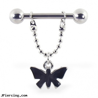 Nipple ring with dangling butterfly on chain, 12 ga or 14 ga, girls nipple piercing tatoos pictures, non piercing gold nipple jewelry nipple rings, nipple percing stories, zipper belly button ring, belly ring and body jewlery