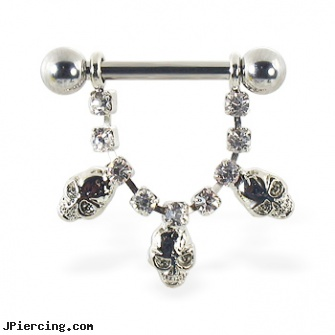 Nipple ring with dangling jeweled chain and skulls, 12 ga or 14 ga, non pierced nipple jewelry sales, nipple pictures, nipple piercing stretch, discreet cock ring, cock ring placement balls penis