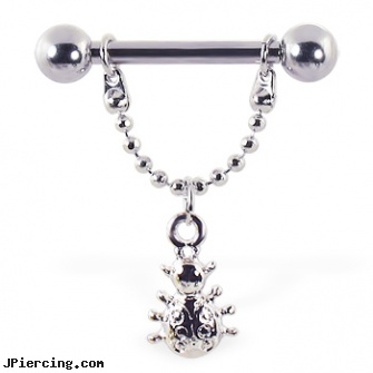 Nipple ring with dangling ladybug, 12 ga or 14 ga, hanging by chains from nipple rings, celebrity nipple rings, ladybug nipple rings, belly butto rings, makeovers and nose rings