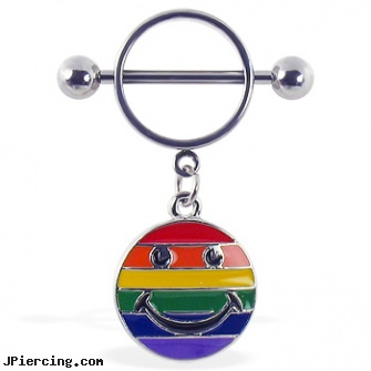 Nipple ring with dangling rainbow smiley face, male nipple shield, suck on nipple ring jewelry pierce, female horizontal nipple piercings, picture of cock ring installed, patrick navel rings