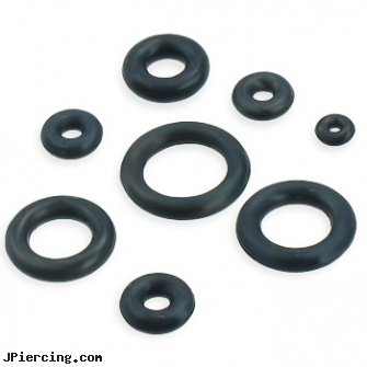 Pack Of 10 Black Rubber O-Rings, nose ring packages, packaging and body jewelry, body jewelry and packaging, black and blue titainum tongue rings, black penis piercing pic