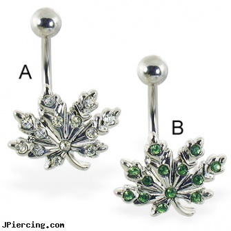 Pot leaf belly ring with multi-gems, belly button rings pot leaf, four leaf clover body jewelry, tounge and belly rings, 12 gauge belly rings, titanium or stainless steel belly button rings