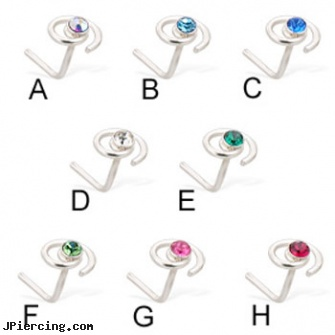 Silver L-shaped gem and spiral nose pin, 20 ga, sterling silver naval rings, 22 gauge silver nose ring, silver nipple ring, shaped nose pins at wholesale, crescent shaped piercing expanders