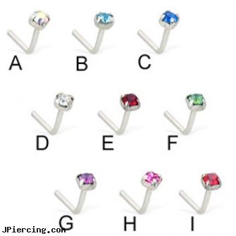 Silver L-shaped nose pin with 4-prong gem, sterling silver nipple rings, silver cock rings, silver nipple ring, shaped nose pins at wholesale, shaped nose studs