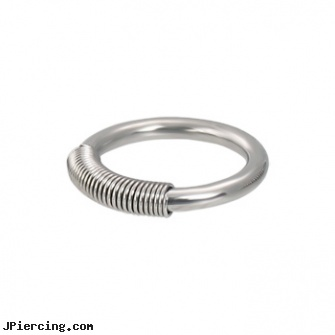 Spring wire captive ring, 12 ga, wireless vibrating cock rings, hardwire tattoo and body piercing studio, metal wire labret, captive bead, captive beads