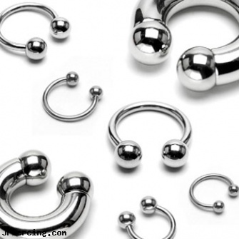 Stainless steel circular (horseshoe) barbell, 0 ga, titanium or stainless steel belly button rings, body jewlery stainless steel, 8-ga cbr or bcr stainless piercing 1-, steel prong set labrets, steel my heart jewlry