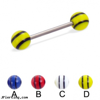 Titanium straight barbell with double striped balls, 16 ga, black titanium labret, titanium micro labret, titanium body percing jewelry, straight barbell clear retainer, straight nose stud