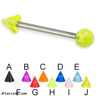 UV ball and cone titanium straight barbell, 14 ga, balls piercing, mm eyebrow balls, blinking koosh ball belly ring, helix cone, silicone cock ring with balls