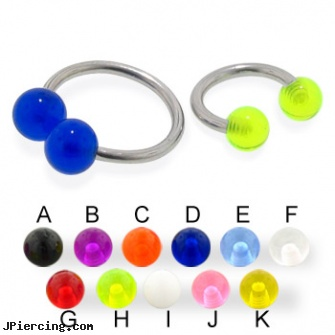 UV ball circular barbell, 14 ga, cock and ball testicle piercing torture, mm eyebrow balls, rhinestone dimple ball charm belly ring, 16 ga circular barbell body jewelery, circular barbell body jewelery