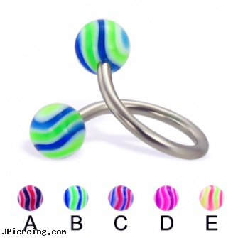 Wave ball twister, 14 ga, small balled labret, belly ring balls, micro ball labret stud, navel ring starter twister wholesale, twister tongue rings