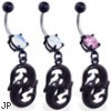 Belly ring with black coated double fish dangle