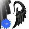Hand carved buffalo bone black angel wing taper