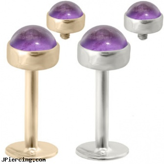 14K  Gold internally threaded labret with 4mm Amethyst Cabochon, gold diamond body jewelry, gold tongue ring, solid gold tongue rings, internally threaded body jewelry, internally threaded straight barbells