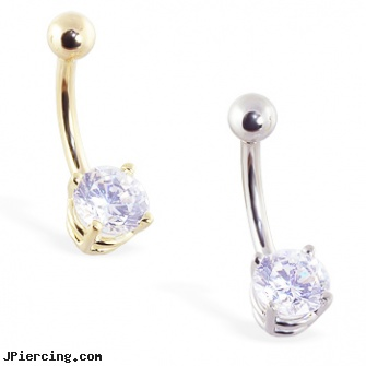 14k Gold Belly Ring With Brilliant Round 6mm Cz Length 7 16 11mm