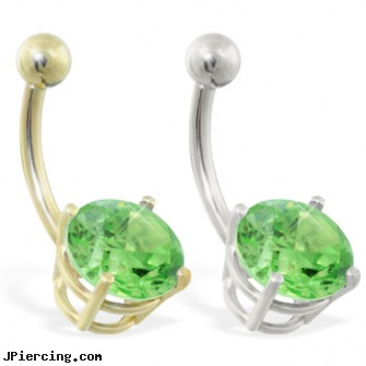14k Gold Belly Ring With Large 8mm Peridot Length 7 16 11mm
