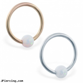 14K Gold captive bead ring with white opal ball, white gold body jewelry, nose screw white gold, gold bellybutton rings, captive earrings unique steel, captive segment cock rings