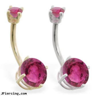 14k Gold Double Jeweled Ruby Belly Ring Length 7 16 11mm