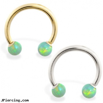 14K Gold Horseshoe/Circular Barbell with Green Opal Balls, gold nose stud, pircing gold, gold body jewelry earrings, tips for putting in tongue barbell, titanium barbell
