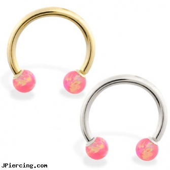 14K Gold Horseshoe/Circular Barbell with Pink Opal Balls, gold belly rings, gold clit charms, gold plated straight barbell eyebrow jewelry, tongue barbells, uv curved barbell