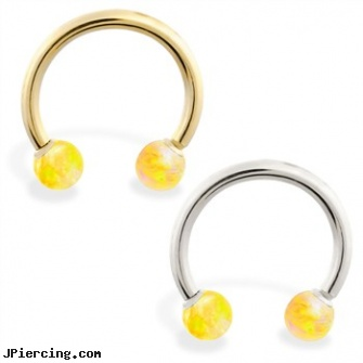 14K Gold Horseshoe/Circular Barbell with Yellow Opal Balls, pierced cock rings gold, 14 gold plated belly rings, gold belly button rings, straight barbell clear retainer, twisted barbell