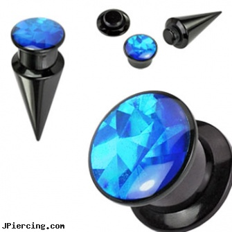 2-In-1 Interchangeable Black Acrylic Screw Fit Taper With Blue Prism Insert, nipple jewelry interchangeable base rings, non piercing nipple jewelry with interchangeable base rings, black titanium labret, 10 gauge black nipple ring, black market body jewelry