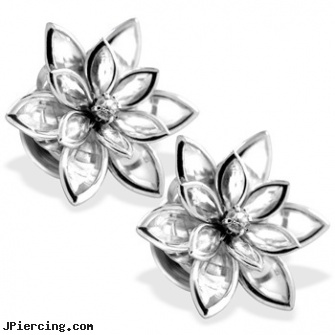 316L Stainless Steel Crystal Flower Screw Fit Plug, 316l jewelry cards, navel jewelry surgical stainless steal internal thread, surgical stainless steel navel jewelry, titanium or stainless steel belly button rings, double steel cock rings