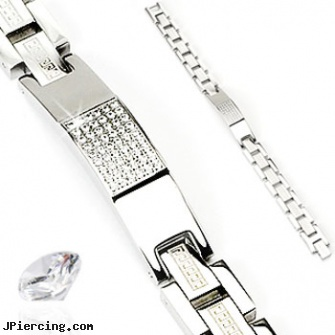 316L Stainless Steel CZ Stones Tag With Aztec Link Bracelet, 316l jewelry cards, stainless steel triple cock ring, stainless steel chain az, stainless steel nose rings, rolling stones tongue jewelry