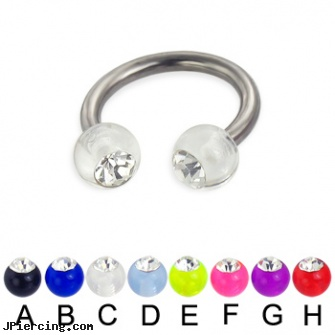 Acrylic Ball With Stone Titanium Circular Barbell 12ga Gauge