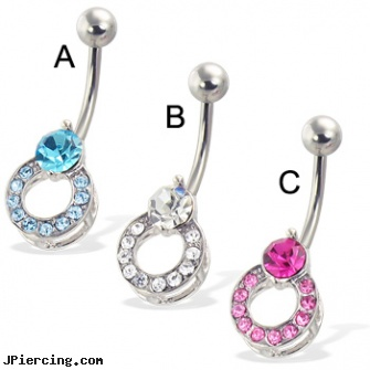 Belly Button Ring With Big Gem And Jeweled Ring Length 716 11mm