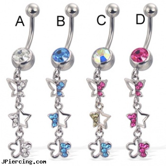 Belly button ring with dangling jeweled butterfly, star, and flower, how to change my belly button ring for the first time, charcter belly button rings, superman belly rings, belly button piercing questions, magnetic tongue ring