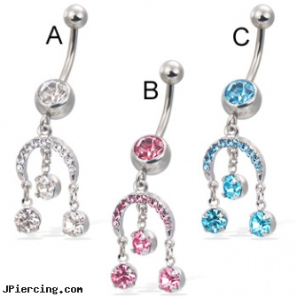 Belly Button Ring With Horseshoe And Three Dangling Gems Length 7