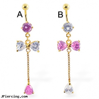 Belly Ring With A Large Dangling Bow And Gem Length 12 12mm